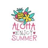 Λογότυπο περιλήψεων με τον ανανά, το λουλούδι και τα φύλλα Αφηρημένη ετικέτα με την επιγραφή: το aloha, απολαμβάνει το καλοκαίρι  Στοκ Εικόνα
