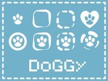 Λογότυπο ποδιών σκυλακιών, εικονίδια, διάνυσμα ελεύθερη απεικόνιση δικαιώματος