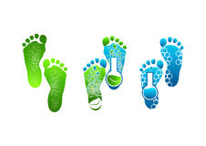 Λογότυπο ποδιών, πράσινα συμβόλων πόδια σχεδίου έννοιας απεικόνιση αποθεμάτων