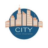 Λογότυπο πόλεων, διανυσματικό εικονίδιο Ιστού οικοδόμησης Στοκ Φωτογραφίες
