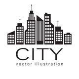 Λογότυπο πόλεων, διανυσματικό εικονίδιο Ιστού οικοδόμησης Στοκ Φωτογραφία