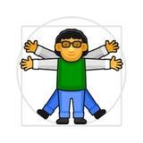 Λογότυπο σημαδιών ατόμων Leonardo Da Vinci Vitruvian Εικονίδιο ύφους Hipster διάνυσμα Στοκ εικόνα με δικαίωμα ελεύθερης χρήσης