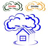 Λογότυπο σπιτιών με έναν καπνό διανυσματική απεικόνιση
