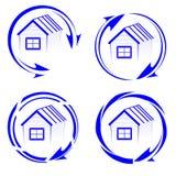Λογότυπο σπιτιών με ένα βέλος ελεύθερη απεικόνιση δικαιώματος