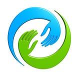 Λογότυπο σχεδίου διαπραγμάτευσης χεριών Στοκ εικόνες με δικαίωμα ελεύθερης χρήσης