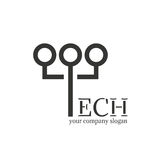Λογότυπο τεχνολογίας Σπασμένες επιστολές Στοιχείο σχεδίου για το λογότυπο, ετικέτα, έμβλημα, επιχείρηση ονόματος Στοκ φωτογραφίες με δικαίωμα ελεύθερης χρήσης