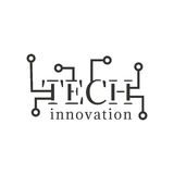 Λογότυπο τεχνολογίας Σπασμένες επιστολές Στοιχείο σχεδίου για το λογότυπο, ετικέτα, έμβλημα, επιχείρηση ονόματος Στοκ Φωτογραφία