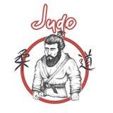 Λογότυπο τζούντου με το judoka Στοκ φωτογραφία με δικαίωμα ελεύθερης χρήσης