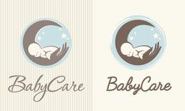 Λογότυπο της προσοχής, της μητρότητας και της τεκνοποιίας μωρών Στοκ Εικόνες
