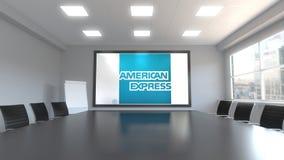 Λογότυπο της American Express στην οθόνη σε μια αίθουσα συνεδριάσεων Εκδοτική τρισδιάστατη απόδοση απεικόνιση αποθεμάτων