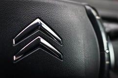 Λογότυπο της Citroen στο τιμόνι Στοκ εικόνα με δικαίωμα ελεύθερης χρήσης
