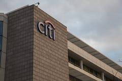 Λογότυπο τραπεζών Citi στην οικοδόμηση Στοκ εικόνα με δικαίωμα ελεύθερης χρήσης