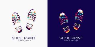 Λογότυπο τυπωμένων υλών παπουτσιών Τυπωμένη ύλη παπουτσιών χρώματος δημιουργικό λογότυπο στοκ φωτογραφία με δικαίωμα ελεύθερης χρήσης