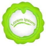 Λογότυπο 100 φυσικό προϊόν, πράσινο σημείο, πράσινο στρογγυλό λογότυπο με τις πτώσεις και τις ραβδώσεις Στοκ φωτογραφία με δικαίωμα ελεύθερης χρήσης