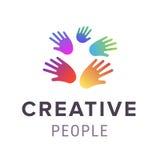 λογότυπο χεριών Αφηρημένο σχέδιο οικογενειακών συμβόλων Διανυσματική απεικόνιση σχεδίου λογότυπων Στοκ Φωτογραφίες