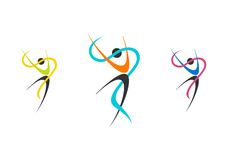 Λογότυπο χορευτών, σύνολο ballerina wellness, απεικόνιση μπαλέτου, ικανότητα, χορευτής, αθλητισμός, φύση ανθρώπων Στοκ Φωτογραφία