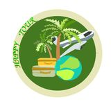 Λογότυπο χρώματος για τα ταξιδιωτικά γραφεία και την αναψυχή με το αεροπλάνο, τη σφαίρα και τους φοίνικες Στοκ Εικόνες
