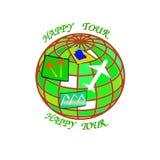 Λογότυπο χρώματος για τα ταξιδιωτικά γραφεία και την αναψυχή με το αεροπλάνο, τη σφαίρα και τους φοίνικες Στοκ εικόνες με δικαίωμα ελεύθερης χρήσης