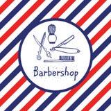 Λογότυπο Barbershop στον κύκλο Στοκ Εικόνες