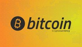 Λογότυπο Bitcoin και διαστιγμένος παγκόσμιος χάρτης Διάνυσμα Editable EPS10 Διανυσματική απεικόνιση