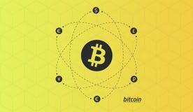 Λογότυπο Bitcoin και σημάδια άλλων νομισμάτων με τις γραμμές ανταλλαγής Διανυσματική απεικόνιση