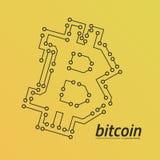 Λογότυπο Bitcoin όπως έναν πίνακα κυκλωμάτων Κίτρινο υπόβαθρο κλίσης Διανυσματική απεικόνιση