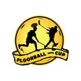 Λογότυπο Floorball για την ομάδα και το φλυτζάνι Στοκ Φωτογραφία