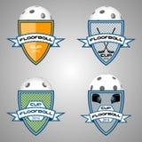 Λογότυπο Floorball για την ομάδα και το φλυτζάνι Στοκ Εικόνες