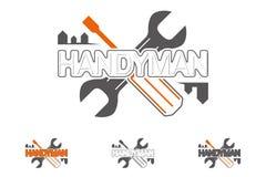Λογότυπο Handyman με τα εργαλεία κατασκευών τρισδιάστατο γαλλικό κ&lambda Στοκ Φωτογραφίες