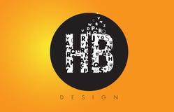 Λογότυπο HB Χ Β φιαγμένο από μικρά γράμματα με το μαύρο κύκλο και το κίτρινο Β Στοκ Φωτογραφία