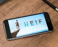 Λογότυπο HEIF στο iPone 7 της Apple Στοκ εικόνες με δικαίωμα ελεύθερης χρήσης