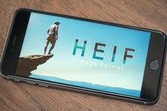 Λογότυπο HEIF στο iPone 7 της Apple Στοκ Φωτογραφίες