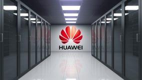 Λογότυπο Huawei στον τοίχο του δωματίου κεντρικών υπολογιστών Εκδοτική τρισδιάστατη ζωτικότητα απόθεμα βίντεο