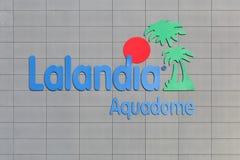Λογότυπο Lalandia aquadome σε έναν τοίχο στοκ εικόνες με δικαίωμα ελεύθερης χρήσης