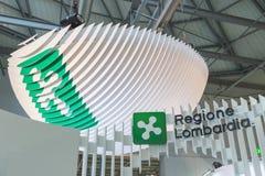 Λογότυπο Lombardia Regione στο κομμάτι 2015, διεθνής ανταλλαγή τουρισμού στο Μιλάνο, Ιταλία Στοκ εικόνα με δικαίωμα ελεύθερης χρήσης