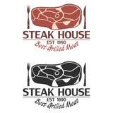 Λογότυπο Steakhouse με το κρέας, το μαχαίρι και το δίκρανο Πρότυπο εμβλημάτων διανυσματική απεικόνιση