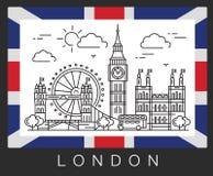 Λονδίνο, Μεγάλη Βρετανία Απεικόνιση Big Ben και η σημαία της Μεγάλης Βρετανίας διανυσματική απεικόνιση