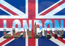 Λονδίνο σε μια σημαία Στοκ Φωτογραφίες