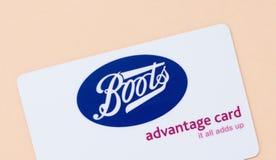 Λονδίνο, UK - 14 Μαΐου 2019 - κάρτα πλεονεκτήματος μποτών Οι μπότες είναι αλυσίδα μια υγεία και λιανοπωλητές και φαρμακεία ομορφι στοκ φωτογραφίες