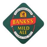 ΛΟΝΔΙΝΟ, UK - 22 ΑΥΓΟΎΣΤΟΥ 2018: Ήπιος ακτοφύλακας μπύρας αγγλικής μπύρας τραπεζών ` s beermat που απομονώνεται στο άσπρο υπόβαθρ στοκ φωτογραφία με δικαίωμα ελεύθερης χρήσης