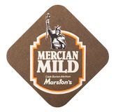 ΛΟΝΔΙΝΟ, UK - 22 ΑΥΓΟΎΣΤΟΥ 2018: Ήπιος ακτοφύλακας μπύρας Marston ` s Mercian beermat που απομονώνεται στο άσπρο υπόβαθρο στοκ εικόνες με δικαίωμα ελεύθερης χρήσης
