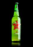 ΛΟΝΔΙΝΟ, UK - 15 ΜΑΐΟΥ 2017: Ένα μπουκάλι της παγκόσμιας έκδοσης μπύρας της Heineken στο Μαύρο Η Heineken είναι το προϊόν ναυαρχί Στοκ Φωτογραφία
