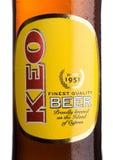 ΛΟΝΔΙΝΟ, UK - 15 ΜΑΐΟΥ 2017: Ετικέτα μπουκαλιών της μπύρας ξανθού γερμανικού ζύού KEO στο λευκό Μπύρα από τη Κύπρο Στοκ Φωτογραφίες
