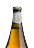 ΛΟΝΔΙΝΟ, UK - 15 ΜΑΐΟΥ 2017: Μπουκάλι της μπύρας ξανθού γερμανικού ζύού ασφαλίστρου blonda birra Menabrea στο λευκό Ιταλική μπύρα Στοκ Φωτογραφία