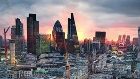 Λονδίνο Άποψη σχετικά με την επιχειρησιακή σύγχρονη περιοχή απόθεμα βίντεο