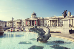 Λονδίνο, πηγή στη πλατεία Τραφάλγκαρ Στοκ Εικόνα
