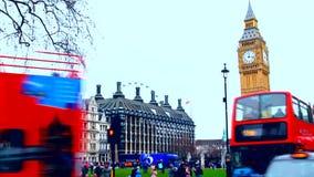 Λονδίνο, Big Ben, διόροφο λεωφορείο απόθεμα βίντεο