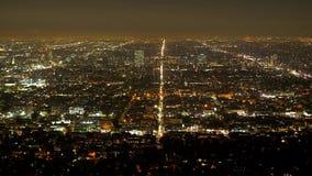 Λος Άντζελες τή νύχτα - εναέρια άποψη από τους λόφους Hollywood φιλμ μικρού μήκους