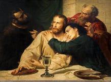 Λουβαίν - αντίγραφο της σκηνής χρωμάτων με το βραδυνό του Ιησού και του ST John επιτέλους   Στοκ Εικόνες