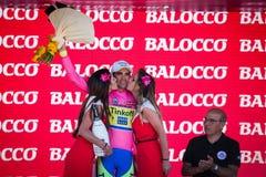 Λουγκάνο, Ιταλία στις 27 Μαΐου 2015  Alberto Contador στην εξέδρα Στοκ φωτογραφία με δικαίωμα ελεύθερης χρήσης